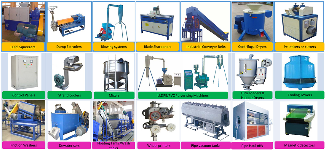 LDPE squeezers  Centrifugal Dryers  hopper loaders & hopper dryers  blade sharpening machines  pelletisers  cooling towers  strand coolers  pulverisers  dump extruders  Friction washers  wash tanks  wheel printers  vacuum tanks  pipe haul offs